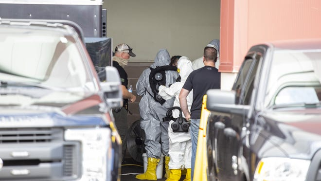 FBI agents were conducting an investigation at the Extra Space Storage complex at 27 Liberty Street in Quincy on Monday August 24, 2020.