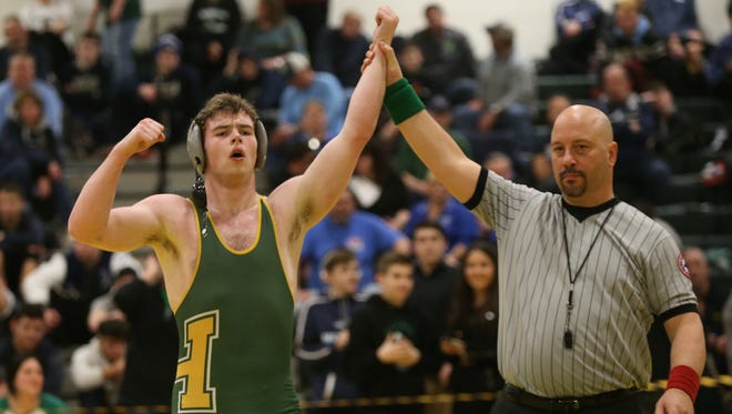 Hasting's Eoghan Murphy defeats Irvington's Aidan Daly in the 195-pound match at the Section 1, Division 2 Wrestling finals at Hasting High School in Hastings on Hudson on Saturday, February 10, 2018.