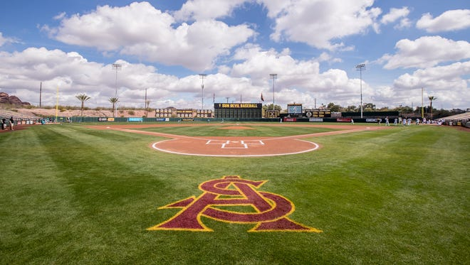 A general view of the field prior to the game between the Arizona State Sun Devils and the North Carolina Wilmington Seahawks at Phoenix Municipal Stadium on Sunday, March 11, 2018 in Phoenix, Arizona.