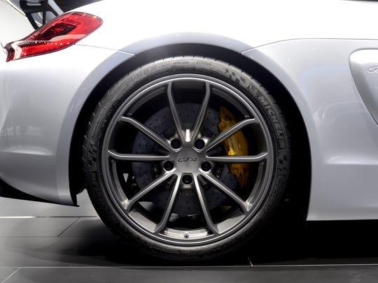 The wheel of a Porsche Cayman GT4 Tuesday, Jan. 12,