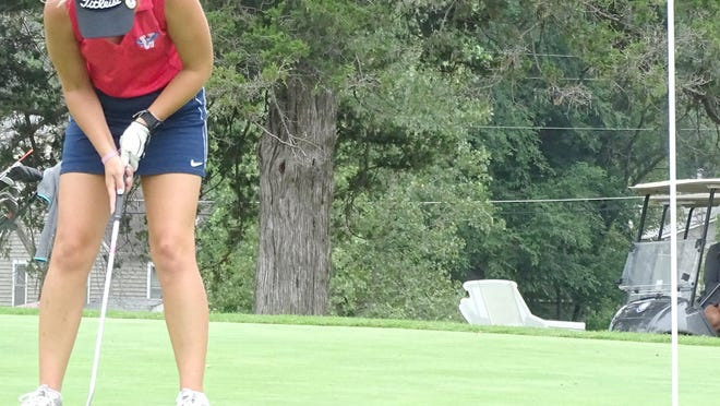 Wellsville High School senior Kaylie Reece finished 12th Monday at Jeff West. [HERALD FILE PHOTO].