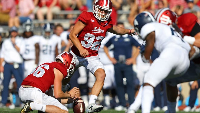 After a difficult 2016, IU kicker Griffin Oakes worked hard with teammates to improve field goal results. So far, so good. Oakes has hit the three field goals he has attempted this season, including this one l against the Georgia Southern Eagles on Sept. 23.