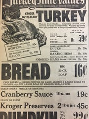 A grocery ad for Thanksgiving 1952.