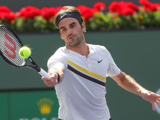 Roger Federer plays Filip Krajinovic at the BNP Paribas Open, March 12, 2018.