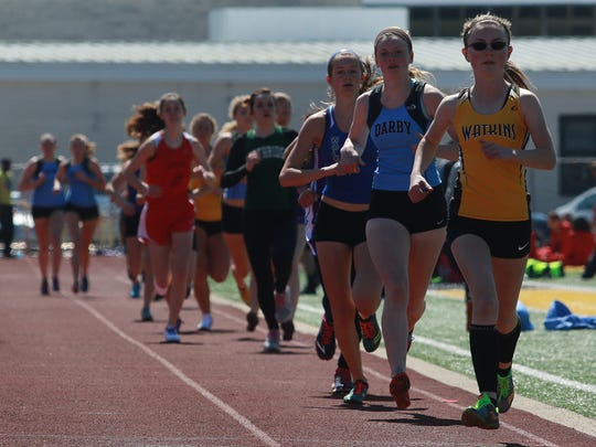 Watkins Memorial's Andrea Kuhn leads the 1,600 this