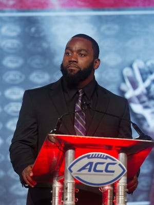 Jul 22, 2016; Charlotte, NC, USA; Louisville Cardinals linebacker Keith Kelsey speaks with the media during the ACC Football Kickoff at Westin Charlotte. Mandatory Credit: Jeremy Brevard-USA TODAY Sports