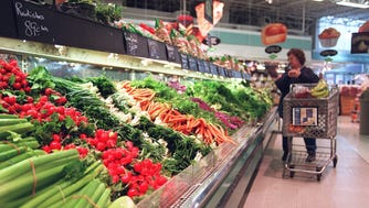 A well-stocked produce department awaits a customer in the Meijer store in Florence, Ky.