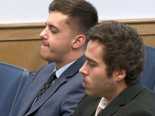 Christopher Tilton (left) and Nicholas Formica, the two men accused of offering autistic Parker Drake $20 and two packs of cigarettes to jump off the Manasquan jetty in February of 2015, are shown in the Manasquan municipal courtroom Tuesday, June 14, 2016.