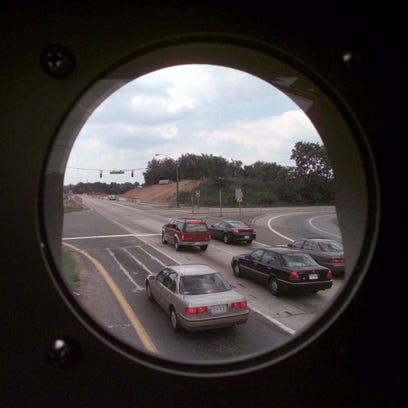 This is the view from inside a box housing one of Howard County, Maryland, red light cameras.