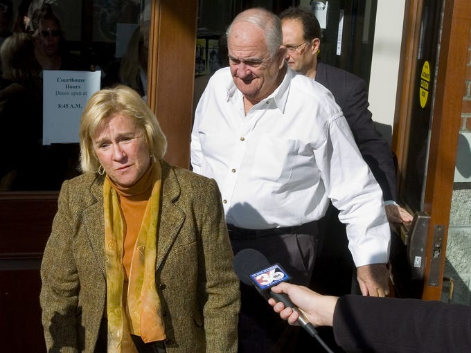 Merri Harris, Calvin Harris' aunt, leaves after a 2007 court appearance in Tioga County Court, saying that the children will be glad to have their father home.
