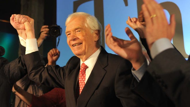 Incumbent Sen. Thad Cochran celebrates with supporters during Tuesday's GOP primary election party at the Mississippi Children's Museum in Jackson.