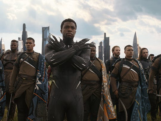 "Chris Evans, Chadwick Boseman, Sebastian Stan, Jeremy Sample, Winston Duke and Dawit Gulilat in ""Avengers: Infinity War."""
