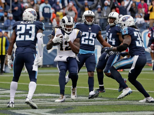 Los Angeles Rams wide receiver Sammy Watkins (12) scores a touchdown on a 3-yard pass reception against the Tennessee Titans in the second half of an NFL football game Sunday, Dec. 24, 2017, in Nashville, Tenn. (AP Photo/James Kenney)