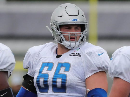 Detroit Lions' Joe Dahl goes through drills Aug. 1, 2018, at the practice facility in Allen Park.  Joe Dahl