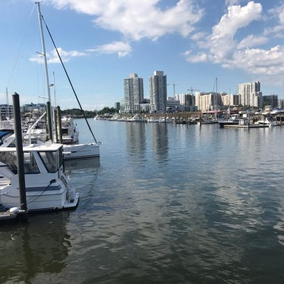 A view of the marina in Stamford Harbor, where the