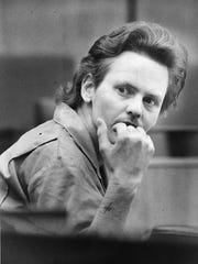 Ricky Sechrest looks into the courtroom on Oct. 28,