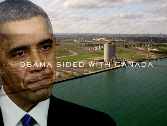 A screenshot from an advertisement lobbying President Donald Trump to side with the Ambassador Bridge owners in their fight against a second bridge spanning the Detroit River.