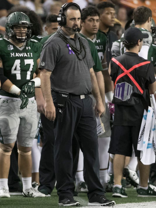 Hawaii head coach Nick Rolovich looks on in the second quarter of an NCAA college football game against San Diego State, Saturday, Oct. 28, 2017, in Honolulu. (AP Photo/Eugene Tanner)