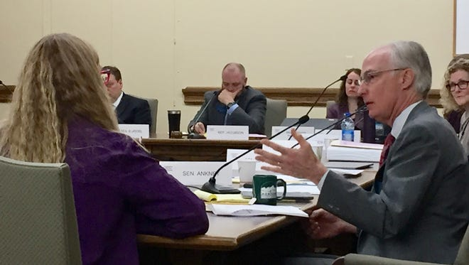 Rep. Jim Hamilton, D-Bozeman, asks questions of staff at Tuesday's meeting of the Revenue Transportation Interim Committee.
