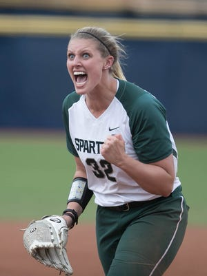 Michigan State Spartans' Bridgette Rainey reacts after throwing a strike in the sixth inning against the Ohio State Buckeyes in the Big Ten softball tournament at Alumni Field in Ann Arbor, Saturday, May 13, 2017.