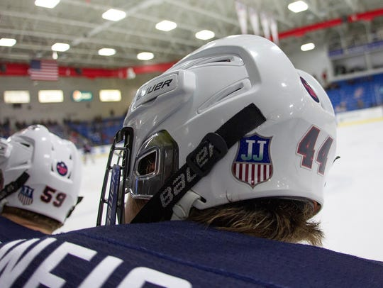 For the rest of the 2017-18 U.S. NTDP season, decals with the program shield and Jim Johannson's initials will adorn player's helmets.