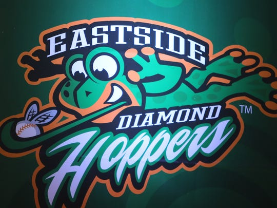 The East Side Diamond Hoppers logo one of the teams that will play in the United Shore Professional Baseball League at the new Jimmy Johns baseball field where construction continued Monday, November 23, 2015 at in Utica, Michigan.