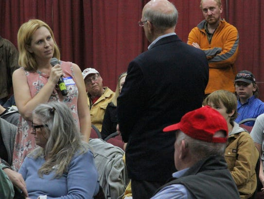 Congressman Steve Pearce listens to Otero County Indivisible