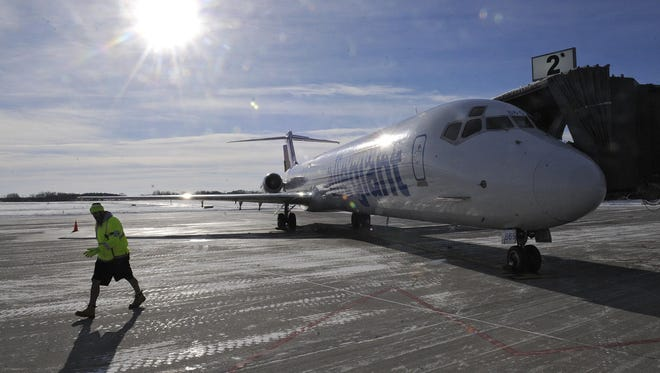The first Allegiant flight from St. Cloud to Orlando Sandford International Airport is prepared for take off at St. Cloud airport.