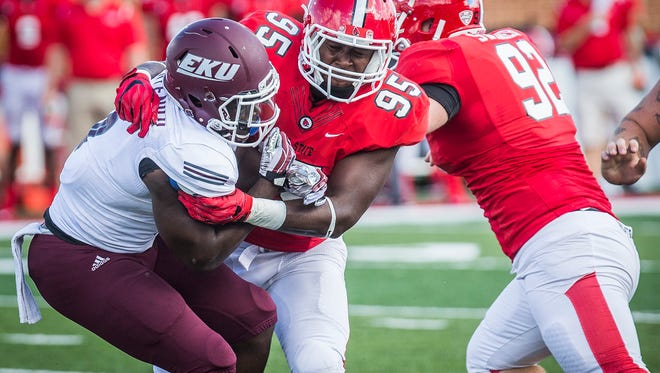Ball State's Brian Whitaker stops a run by Eastern Kentucky during their game at Scheumann Stadium Saturday, Sept. 17, 2016.