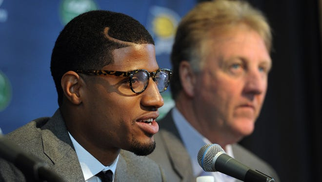 Paul George and Larry Bird, shown here in 2013, have discussed a contract extension.
