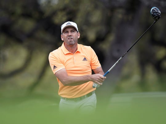 Sergio Garcia, of Spain, watches his drive on the eighth hole during round-robin play at the Dell Technologies Match Play golf tournament, Friday, March 23, 2018, in Austin, Texas. (AP Photo/Eric Gay)