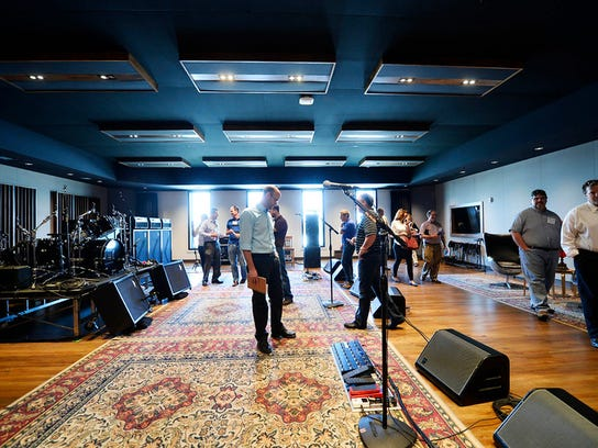 People tour the live performing/recording studio at Think Loud Development's building on York Street during a green walking tour in downtown York Friday, June 5, 2015. The tour was sponsored by USGBC Central Pennsylvania and hosted by State Rep. Kevin Schreiber, D-York.  Kate Penn -- Daily Record/Sunday News