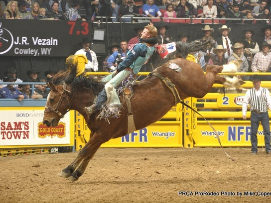 JR Vezain competes in the bareback riding at the National