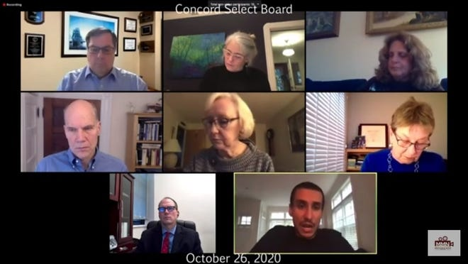 Concord Town Counsel Mina Makarious, bottom right, addresses the Select Board during its virtual Oct. 26 meeting to discuss an alleged Open Meeting Law violation.