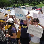Hundreds of LSU students and supporters protest at the state Capitol, Thursday. They're worried about the threat of deep budget cuts that lawmakers are considering for next year.