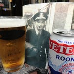 A homecoming image of Herbert Dohms, veteran of the Merchant Marines and grandfather of Beer Guy Tim Dohms, overlooks a cold Rooney's Veterans Beer.