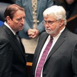 Sen. Bill Galvano, R-Bradenton, left, and Sen. Jack Latvala, R-Clearwater, confer during session.