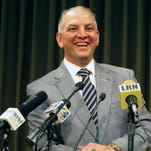 Gov. John Bel Edwards talks about the state's budget and his plans to call a special session for June to try to raise revenue to stave off cuts in Baton Rouge, La. (AP Photo/Melinda Deslatte)