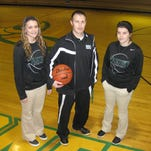 Lauren Rasmussen (left), coach Justin Miller and Kelli Crager (right) are looking to guide the Plainview Lady Hornets to the Class C title game for the first time since 2011.