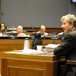 Treasurer John Kennedy speaks to members of the House Appropriations Committee about Gov. Bobby Jindal's budget recommendations for next year, on March 18, 2015, in Baton Rouge. Kennedy has been critical of some of the financing maneuvers Jindal proposes.