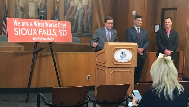 Mayor Mike Huether was joined by Community Development Director Daren Ketcham and Adam Roach, neighborhood development  coordinator, at City Hall Wednesday, July 12, to announce Sioux Falls was selected to be one of 100 What Works Cities in the United States.