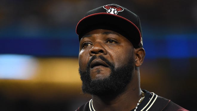 Apr 15, 2017: Arizona Diamondbacks relief pitcher Randall Delgado (48) walks back to the dugout after giving up a 3 run home run to Los Angeles Dodgers right fielder Yasiel Puig (66) in the eighth inning of the game at Dodger Stadium.  Dodgers won 8-4.