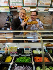 Fred DeLuca, founder of Subway, with Jared S. Fogle,