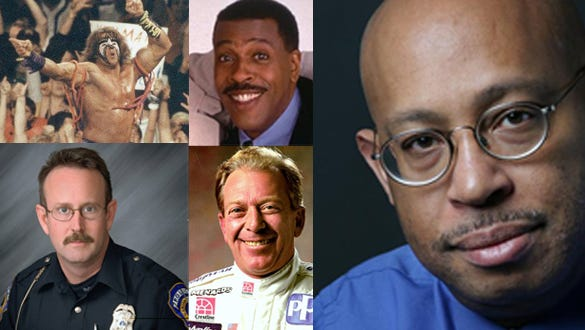 Top row: Bobby Fong, Babar and Haris Suleman, Karlijn Keijzer, Abdul-Rahman (Peter) Kassig. Bottom left: Emma Grace Findley. Middle square clockwise from top left: Ultimate Warrior, Meshach Taylor, Gary Bettenhausen, Perry Renn. Bottom right: Michel duCille.