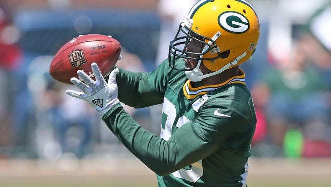 Packers cornerback Damarious Randall (23) does a drilll during organized team activities at Clarke Hinkle Field on June 1, 2017.