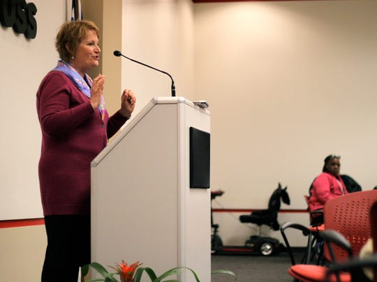 Lynn Marmer, executive director of the Child Poverty Collaborative, speaks at the Faith and Community Alliance annual luncheon Thursday.