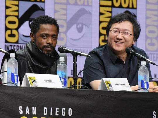 Lakeith Stanfield (left) and Masi Oka attend a Comic-Con
