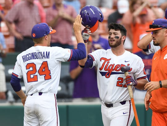 Clemson's Chris Williams (27) after hitting a home