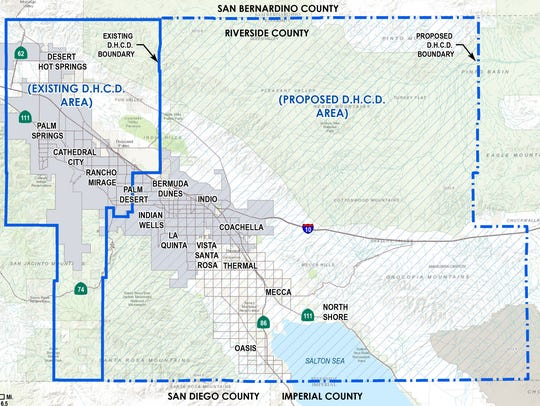 A map showing the Desert Healthcare District's proposed