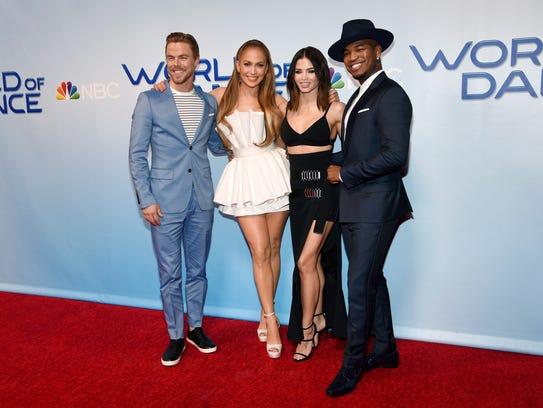 From left, Derek Hough, Jennifer Lopez, Jenna Dewan
